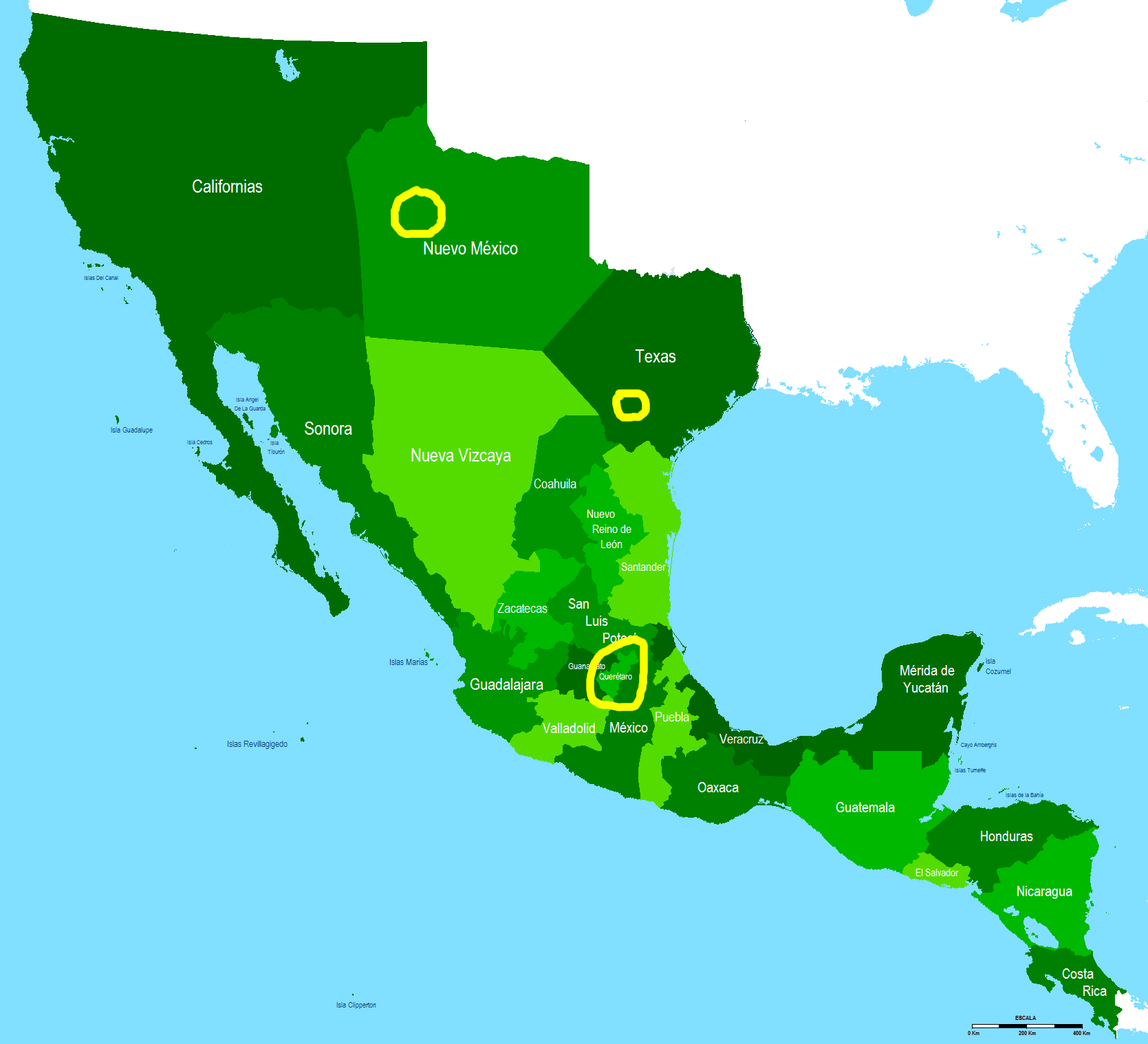Map of Mexico in 1821, with gorditas