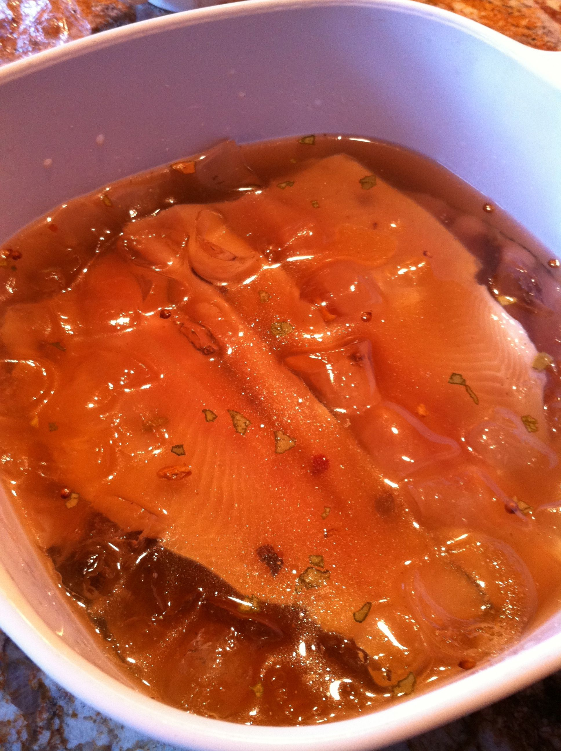 Smoked Trout rests in a flavorful brine for 8-12 hours, with a little bit of sweet